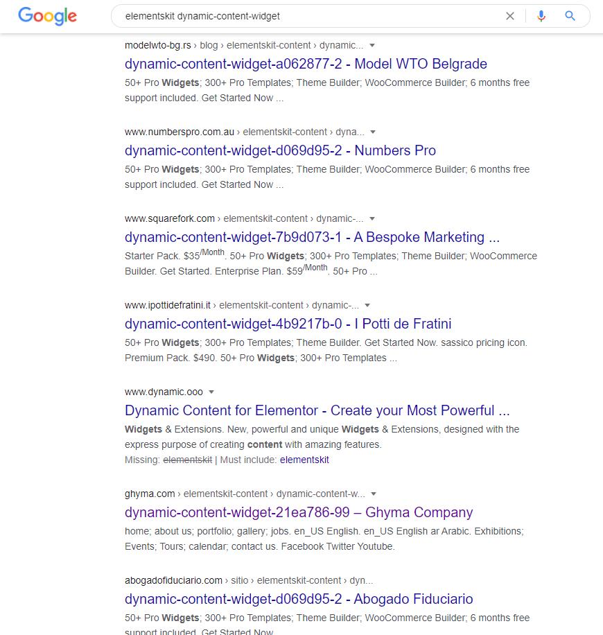 elementskit dynamic-content-widget page in index